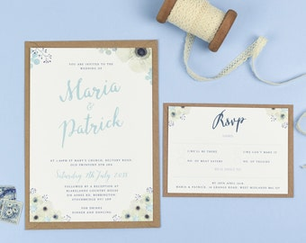 Spring Watercolour Anemone Flowers Wedding Invitations - Maria