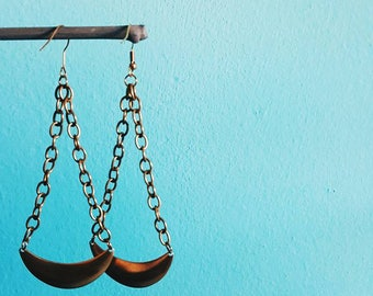 LIBRA // Solid Raw Brass Large Statement Gypsy Crescent Moon Earrings