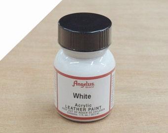 Angelus Acrylic Leather Paint 1oz Purse Vinyl Craft Sneaker 005-White 70168