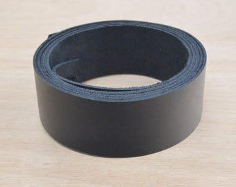 "Black OIL-Tanned LEATHER Strap Strip 1 1/4"" x  54""+ Longer 4-6 oz Hide MI-52023 (85:G5A)"