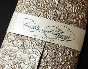 Embossed Wedding Invitation - Elegant Wedding Invitations, Glitter Wedding Invitations, Formal Wedding Invitations, Embossed Handmade Paper
