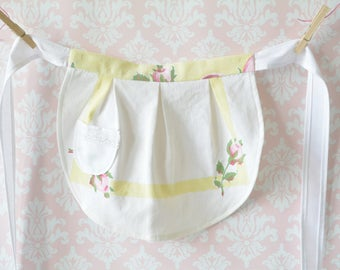 Lemon Cream Pie Aprons - Pink, Yellow and White Half Aprons, Women, Girl, Mommy and Me Aprons, Vintage, Apron Set, Mother and Daughter