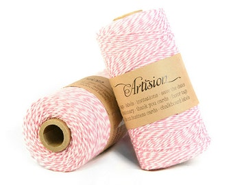 Pink and White Baker's twine 240 yard 4 ply