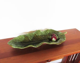 Wade of California Green Leaf with Apples Serving Tray