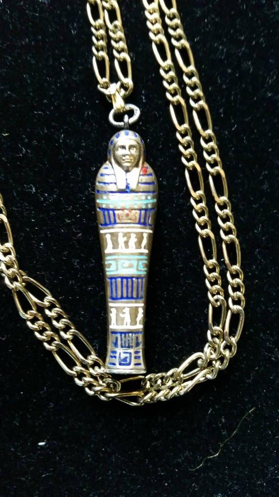 Antique Egyptian Revival Sarcophagus Enamel Mummy Pencil Pendant/Necklace