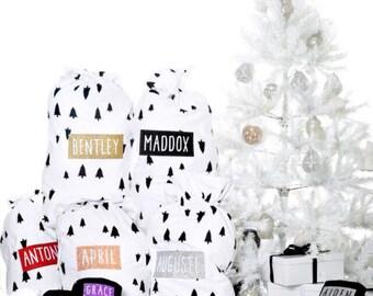 Personalised Monochrome Trees Christmas Santa sack stocking Any Name