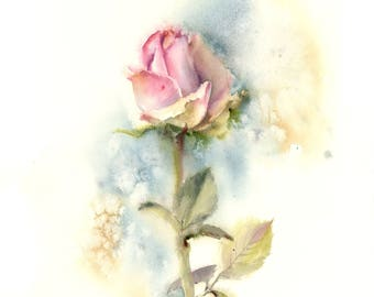 Rose ORIGINAL Watercolor Painting, Pink Rose Painting, Watercolour Wall Art