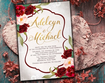 Marsala Wedding Invitation printable - Burgundy wedding invitation set, elegant wedding invitation