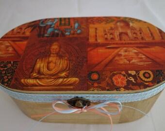 Buddha design oval wooden box