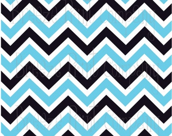 Aqua black and white chevron craft  vinyl sheet - HTV or Adhesive Vinyl -  large zig zag pattern HTV197