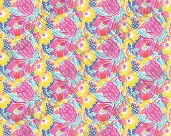 Floral and abstract pineapple craft  vinyl sheet, HTV, adhesive vinyl tropical flower pattern vinyl pink, coral, yellow, blue, aqua HTV2250