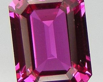 Fine Hand Cut Pink Sapphire Asscher Cut 8 x 6 mm Hot Pink Lab corundum Gemstone Loose Lab Sapphire