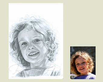 Unique personalised gift of your loved one, baby gift, hand drawn pencil portrait commission from your favourite photos, pencil drawing,
