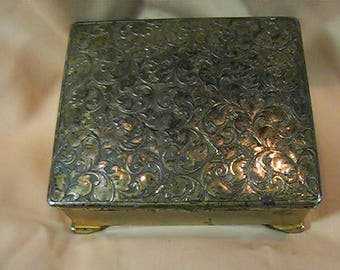 Vintage 1970's Metal Trinket Box, Jewelry Box, Made in Japan, Keepsake Box, Red Velvet Lining, Footed metal Box