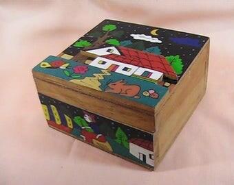 Vintage El Salvador Trinket Box, Wooden Box, Folk Art Box, Hand Painted, Jewelry Box, Made in El Salvador, Keepsake Box, Folk Art Decor