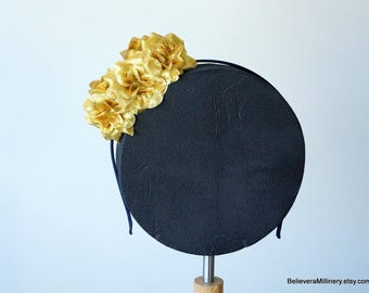 Gold Roses Floral Headband Fascinator Wedding Racing Carnival Party RenFaire Gala Hair Accessory