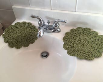 Olive Green, Spa Washcloths, Crochet Cotton, Green Dishcloths, Bathroom Doilies, Kitchen Trivets, Floral Washcloths, Round Dishcloths, TWO