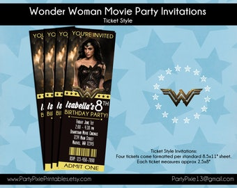 Wonder Woman Movie Party Invitations - Ticket Style - Personalized and Printable - Digital Files