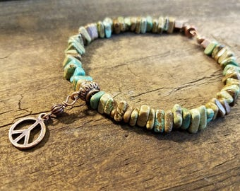 Boho Bracelet, Turquoise Bracelet, Bangle Bracelet, Beach Jewelry, Earthy Bracelet