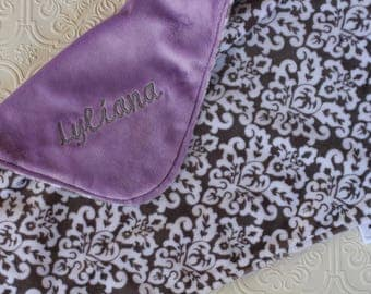 Personalized Baby Girl Blanket, Baby Girl or Boy blanket, Personalized Blanket, Baby Blankie, Monogrammed Baby Blanket, Grey Damask, Lilac