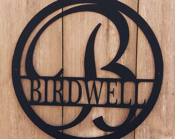 Powder Coated Custom Metal Monogram Name Sign