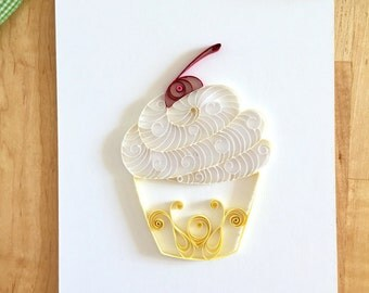 Yellow and White Cupcake Home Decor, Yellow Kitchen Decor, Quilling Paper Cupcake Food Art, Gifts for Bakers, Bakery Decor, Lemon Cupcake
