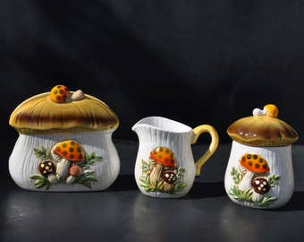 Vintage Merry Mushroom 3 piece Set: Napkin Holder, Creamer, Lidded Sugar - 1970's Sears Roebuck Collectible Ceramic Pottery, Kitschy Kitchen