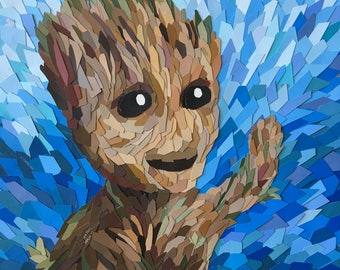 BABY GROOT - Guardians of the Galaxy Inspired Art Collage - Paint Sample Art - Free Shipping on Three