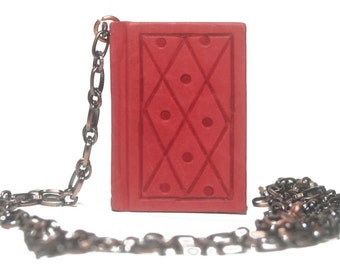 Handmade leather chained book necklace - Cherry Diamonds & Dots