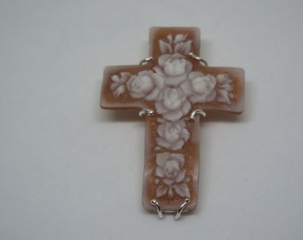 Sold** -Do Not Buy -Payment # 4**Master Hand carved Sardonyx shell cross pendant set in Italian silver