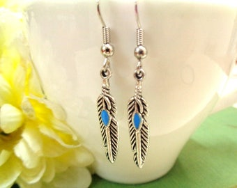 Small Silver Feather Earrings, Simple Earrings, Silver and Blue Earrings, Feather Dangle Earrings, Feather Jewelry,Gift for Her,BohoEarrings