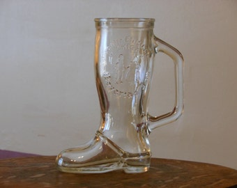 Vintage Souvenir Glass Boot--Bavarian Inn--Frankenmuth, Michigan