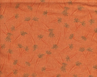 Easter Quilt Fabric - Carrots with Greenery on Orange - Springs Industries -  OOP - 1/2 Yard+