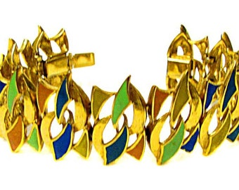 CARVEN, beautiful bracelet completely enamelled in the 1950s