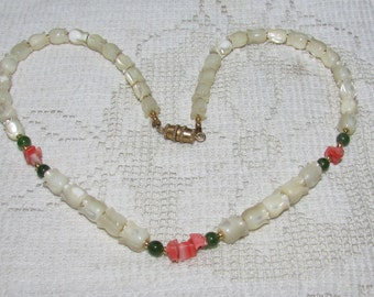 Vintage  carved MOP  jade bead and coral chip choker necklace