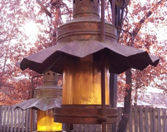 SALE Rustic Copper Lantern Pendant Lights