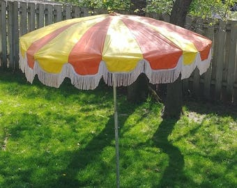 Groovy Orange and Yellow Fringe Patio Umbrella SEE SHIPPING DESCRIPTION