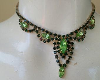 Rare 1940s Superb Green Rhinestone & CZECH URANIUM GLASS Articulated Vintage Necklace
