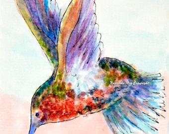 "Abstract Hummingbird # H3 Art Print 5"" x 7"" by Napolske Artist"