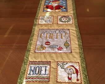Christmas Quilted Table Runner, Santa Quilted Table Runner, Christmas Quilted Cat Table Runner, Christmas Wall Hanging, Holiday Table Runner