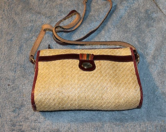 Vintage Etienna Aigner Weave Purse, Colors on The Front, Great for a Casual Event or Beach Theme Party, it Zips Shut & is Roomy, Very NICE