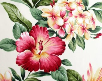 Fabric, Hawaiian Flower Luau, Pale Buttercream and Pink, Tropical Floral Hibiscus, Plumeria, By The Yard