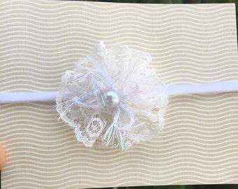 Handmade! Ivory Lace Flower Headband ! Baby Girls, newborn, Toddler Girls, Nylon Headband