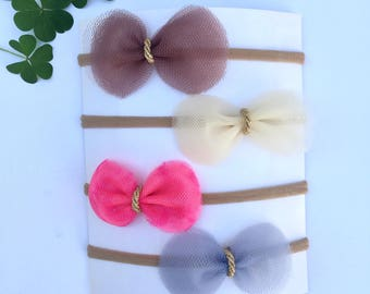 Adorable ! 4pc. Set Tulle Bow Nylon Headbands or Alligator clips  ! Newborn , Baby Girl , Toddler Girl