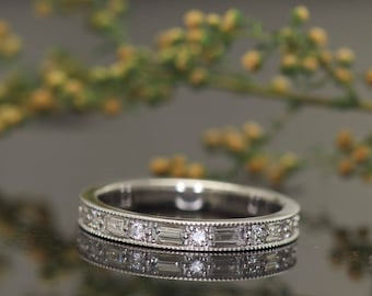 Baguette and Round Diamond Eternity Band with Beaded Milgrain in 14k White Gold, Dot Dash Design, 2.7mm Wide, 0.97ctw, Eternity, Lorena E