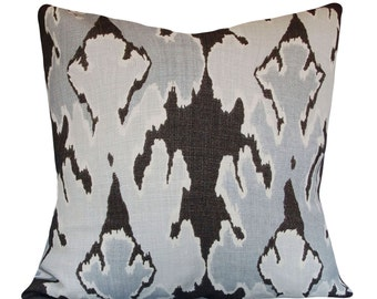 Kelly Wearstler Gray Ikat Bengal Decorative Pillow Cover - Lee Jofa Groundworks - Throw Pillow - Solid Cream Back - ALL SIZES AVAILABLE