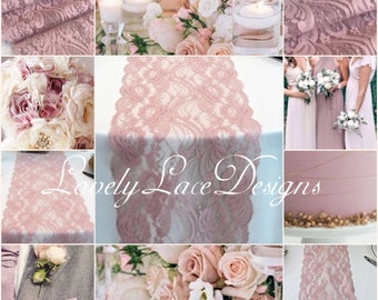 "Dusty Rose/Mauve/ Lace Table Runner/3ft-10ft long x 7""wide/Lace Overlay/ Weddinds /wedding decor/wedding centerpiece/table decor/vintage"