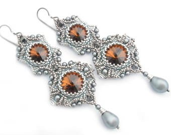 Gray beadwork earrings with Swarovski whiskey crystals and pearl imitations