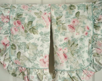 Vintage Laura Ashley Cottage Rose Pillow Sham Pair Pink Cabbage Rose Ruffled Standard Shams Pillow Covers Shabby Cottage Chic