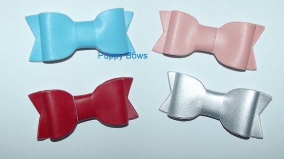 "Puppy Bows ~Big girl/boy matte finish pet bowknot 3"" dog hair pet comb clip barrette ~Usa seller"